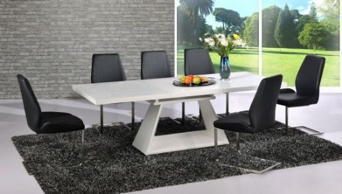 Silvano  Extending White High Gloss Contemporary Dining Table & Black Dalia Dining Chairs